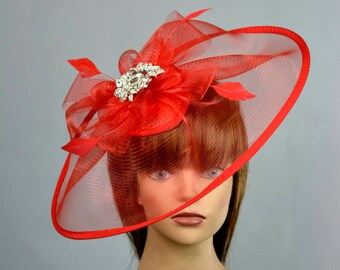 Red Headband Hat Kentucky Derby Hat Party Headband Party Hat Women Hat