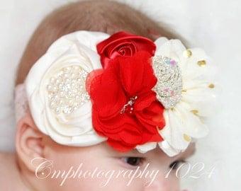 Holiday Headband/Baby Headband/Baby Headbands and Bow/Infant Headband/Baby Girl Headband/Girl Headband Baby/Toddler Headband/Photo Prop Baby
