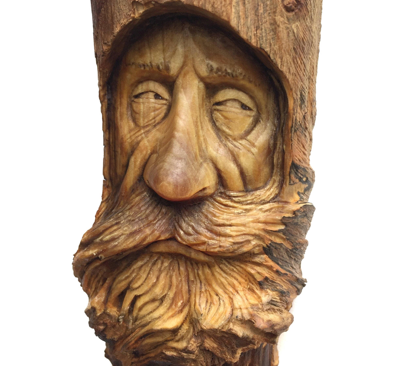 Wood carving spirit wall art decor handmade