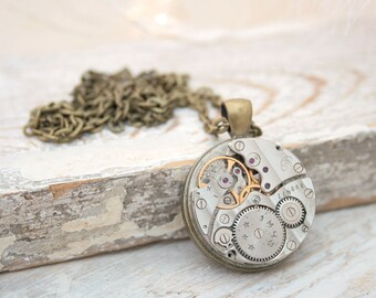 Steampunk Necklace Rockabilly Jewelry Watch Movement Vintage Watch work Pendant Necklace Steam Punk Statement Jewellery Gifts for Teenagers