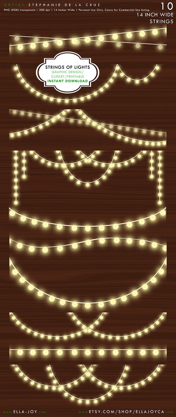 for Holiday Greeting Card Christmas String Lights Instant Download Wedding String of Lights ...