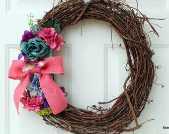 Wreath - Spring Wreath - Grapevine Wreath - Door Wreath - Pink Wreath - Front Door Wreath - Summer Wreath - Wreath for Door - Floral Wreath
