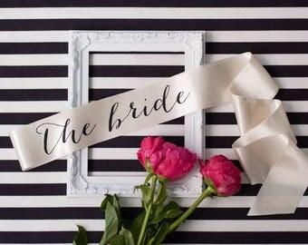 Bachelorette Sash - The Bride Sash - Bachelorette Party - Black on Ivory