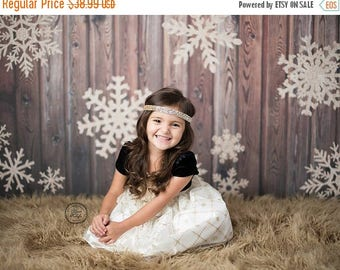 4ft x 4ft Gold Glitter Snowflake Photography Backdrop - Wood Christmas Photo Prop - Exclusive Design - Item 3027