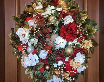 Holiday Farmhouse Magnolia Wreath, Front Door Wreaths, Christmas Wreath, Front Door Farmhouse Holiday Wreath, XL Holiday Wreaths, XL Wreath