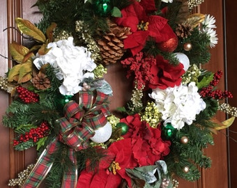 Christmas Wreath, Front Door Wreath, Holiday Wreath,Christmas Decor, Ornament Wreath, Holiday Front Door Wreath, Wreaths,  Christmas Wreaths