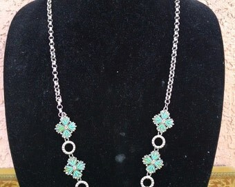Vintage Faux Silver and Petit Point Faux Turquoise Squash Blossom Necklace - Vintage Costume Jewelry