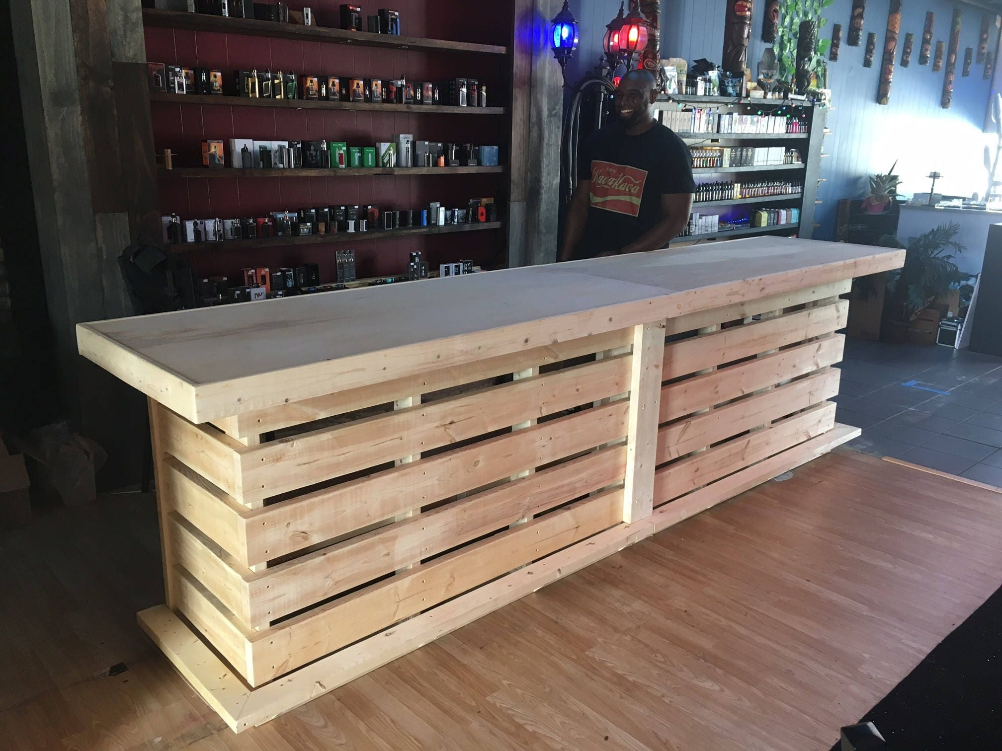 The Whoadie Pallet Style Rustic Dry Bar Reception Desk Or