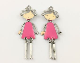 1 girl charm pink enamel and silver tone 21mm x 55mm #CH 467