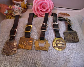 5 Metal Watch Fobs with Black Bands Lot