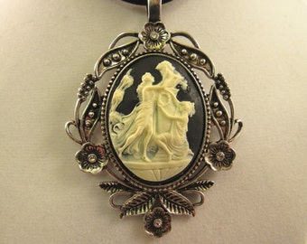 Ivory on Black Cameo Pendant