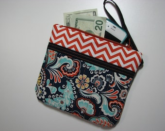 Quilted Zippered Wristlet Clutch, Cell Phone Pouch, Paisley and Chevron Handmade Purse, Quiltsy Handmade