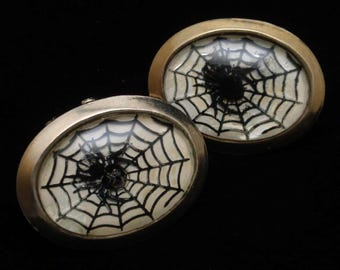 Spider and Web Cuff Links Vintage