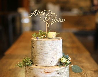 First Names Wood Cake Topper - Wedding Cake Topper