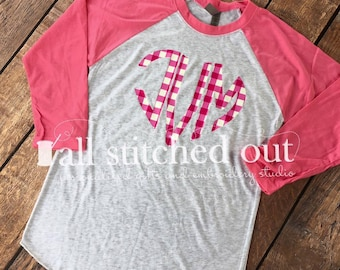 Valentine's Day Special - Pink 3/4 Sleeve Raglan with Plaid Heart Monogram - Personalized Valentine's Shirt - Monogram Valentine's Day Shirt