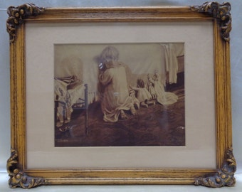 Mary Sigsbeeker Vintage Infant & Dolls Praying Print w. Antique Decorative Frame