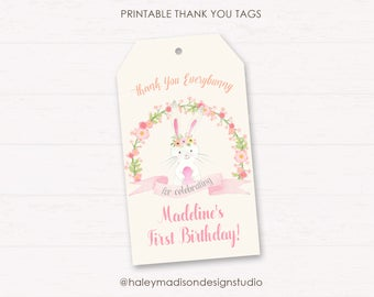 Bunny thank you Tags, Somebunny Birthday Thank you tags, Printable favor tags, personalized tags DIGITAL FILE