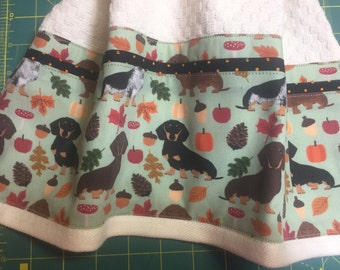 Dachshunds Doxies on Cream KITCHEN Towel Autumn Fall Wiener Dogs Embellished