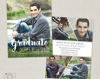Graduation Announcement Template Senior Card for Photographers - 5x7 Flat Photo Card 016, INSTANT DOWNLOAD