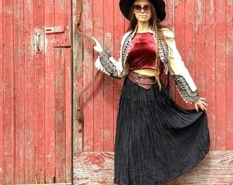 Gauze Vintage Skirt, Black Beauty, Sheer, Made in USA, Bohemian Romance