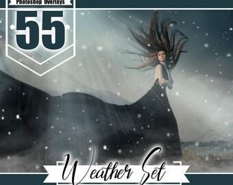 55 Weather photohop overlays, rain overlays, snow overlays, sun lens flare overlays, fog overlays, photo overlays, nature realistic effect