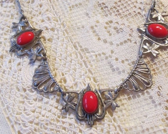 Rhodium Plated Coral Filigree Necklace