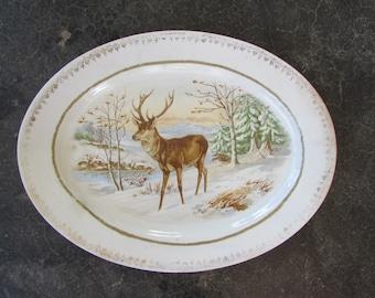Deer in Snow Platter, Vintage Deer in Snow Platter, Old Deer in Snow Platter, Vintage Platters, Collectible Platters, Home Decor