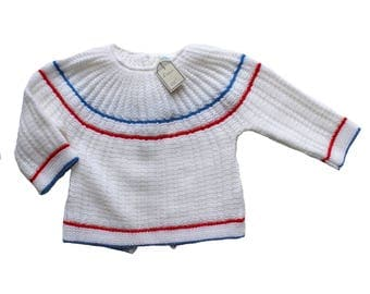 French Vintage 70's / baby sweater / layette / acrylic knit / patriotic colours / new old stock / size 3/6 months