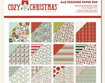 My Mind's Eye Cozy Christmas 6X6 Designer Paper Pad, Christmas Theme Scrapbook, Christmas Paper Craft, 24 Sheets