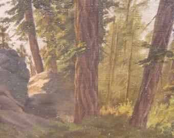 """Vintage California Plein Air Painting ,"""" Downslope looking upward"""""""