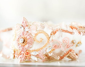 Rosegold Blush Wedding garter set (Ready to ship)