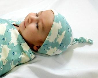 Organic baby hat, baby hospital hat, sheep nursery decor, baby top knot hat, newborn hospital hat, baby knotty hat, infant hospital hat