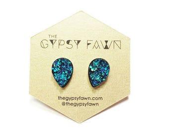 Blue Teardrop Shaped Galaxy Druzy Stud Earrings