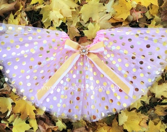 pink polka dots tutu gold polks dots tutu 1st birthday tutu party tutu party dress birthday tutu