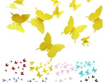 12 Pieces of Yellow 3D Butterfly Wall Decals. PVC Poster Decoration for Home Decor. Bedroom, Kitchen & Bathroom Stickers -