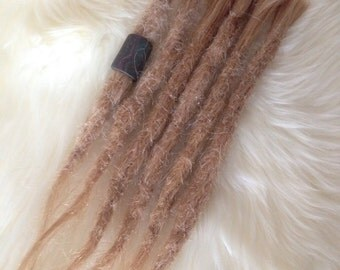 6 natural Dreadloc extensions - Real human hair - Mixed blonde