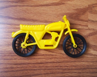 Vintage 70s 80s Yellow Plastic Motorcycle Toy