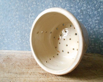 French antique cheese strainer, large cheese drainer mould , rustic farmhouse decor, kitchen storage .