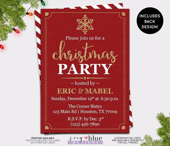 Work Christmas Party Invites: Red Gold Holiday Party Invite