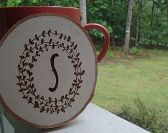 Monogram Wood Slice Coaster