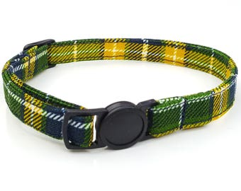 Green and yellow plaid tartan with quick release safety clasp