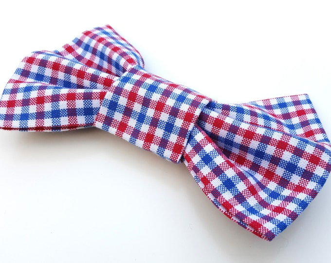 Dog Bow Tie - red, white and blue gingham