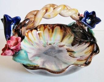 Vint. AUSTRIAN CERAMIC, Liezen Keramik Bowl with Handle, Alpine Flowers, Enzian,  Almrausch, braided Handle,