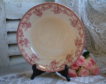 Antique french red transferware round serving dish. Rose red transferware Roses French transferware. Jeanne d'Arc living. Gustavian
