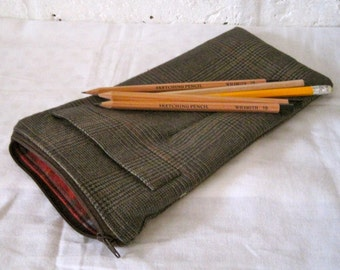 Handmade Recycled Tweed Suit Pouch
