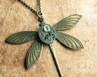 Clockwork Dragonfly - Steampunk - Watch parts - Vintage - Clock - Gears - Victorian - Pendant - Necklace - Valentine - Antique - Mixed Med