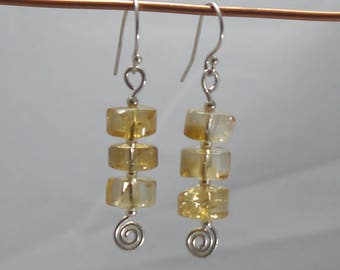 Sterling Silver Spirals and Citrine Gemstone Cylinders Drop Earrings