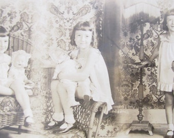 Adorable Little Girl With Her Doll 1920's Multi Pose Real Photo Postcard - Free Shipping