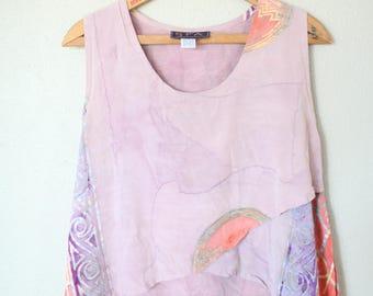 vintage loose slouchy pink peach batik halter top tank