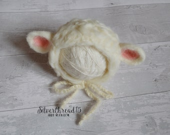 hand felted lamb hat, newborn Photo prop, baby hat, Sheep Hat Newborn Baby Hat,